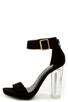 My Delicious Cargo Black and Lucite High Heel Dress Sandals at LuLus.com! #lulus #holidaywear