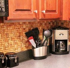 DIY {Wine Cork} Backsplash! -- [LOVE!!!] I wonder how long it would take me to drink enough wine to do this in my kitchen?!