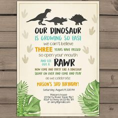 Dinosaur birthday invitation Dinosaur Party Invitation