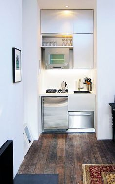Kitchen:Tiny Kitchen Ideas Super Small Kitchen Concept White Clean Cabinets Polished Stainless Steel Oven Polished Microwave Black Fused Double Cook Tops Polished Stainless Dishwasher Ideas Very Clever Compact Kitchen for Small Apartments Tiny Spaces, Small Apartments, Studio Apartments, Small Home Offices, Kitchen Interior, Kitchen Decor, Kitchen Ideas, Kitchen Designs, Kitchen Storage