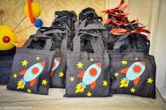Evan's Blastoff to Space Third Birthday Party 2nd Birthday Party Themes, Boy Birthday Parties, Astronaut Party, Twin First Birthday, Moon Party, Space Party, Party Bags, Party Favors, Goodie Bags