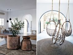 A luxuriously simple and bohemian boutique hotel, with just 33 rooms, is the kind of place I would like to stay if I ever made it to Mykonos. The San Giorgio is picturesque white - accented by colorful kilims, rustic wood furniture, peacock chairs, hanging rattan chairs, netted canopies, patterned