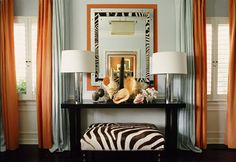 Art Deco interior style: its main characteristics and features. Tips on Art Deco interior creation. Walls, floor and cieling finish in Art Deco style. How to choose furniture and decorative accessories for Art Deco interior. Orange Dining Room, Living Room Orange, My Living Room, Orange Rooms, Home Design, Design Hotel, Seashell Display, Mary Mcdonald, Colorful Curtains