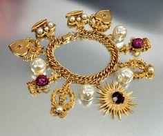 Purple Rhinestone Baroque Pearl Gold Charm Bracelet