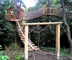 One of the most adventurous tree house projects we've ever done. Included 3 bridges and a zipline 40' in the air. Wow!