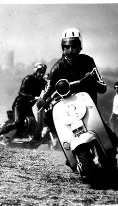 IOM Scooter Week, 1970's. Photo: Eddie Yates Collection Piaggio Scooter, Vespa Bike, Vespa Lambretta, Vespa Scooters, Open Face Motorcycle Helmets, Open Face Helmets, Retro Scooter, Motor Scooters, Mini Bike
