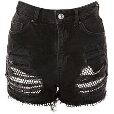 TopShop Moto Fishnet Mom Shorts ($60) ❤ liked on Polyvore featuring shorts, topshop, washed black, distressed high waisted shorts, ripped shorts, distressed shorts, torn shorts and high-waisted shorts