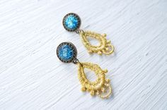 Blue Glitter and Resin with Gold Lace Earrings by White Bear
