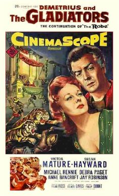 DEMETRIUS AND THE GLADIATORS (1954) - Victor Mature - Susan Hayward - Michael Rennie - Debra Paget - Anne Bancroft - Jay Robinson - Written by Philip Dunne - Directed by Delmer Daves - 20th Century-Fox - Movie Poster.