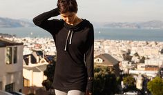 Betabrand Black Cowl Neck Tunic lead fit shot