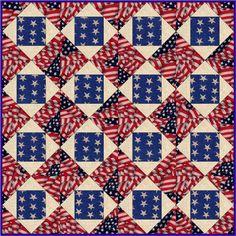 Rustic Stars n Flags Pre-Cut Quilt Blocks Kit