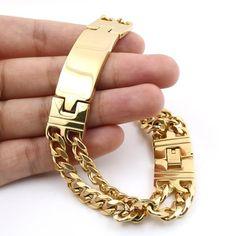 Men Fashion Jewelry Gold Bracelet Length Double Lines Charming High Quality Bracelet Men Stainless Steel Jewelry Mens Gold Bracelets, Mens Gold Jewelry, Trendy Bracelets, Copper Jewelry, Jewelry Bracelets, Link Bracelets, Ankle Bracelets, Male Jewelry, Man Bracelet