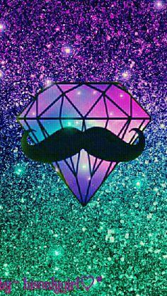 Hipster diamond moustache glitter wallpaper I created for the app CocoPPa