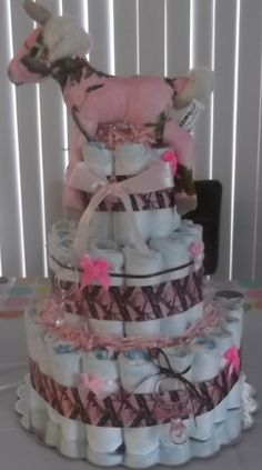 Pink Real Tree Diaper Cake - The Supermums Craft Fair