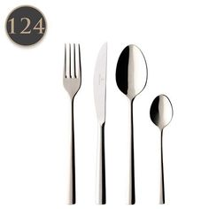Villeroy & Boch Piemont 124 Piece Cutlery Gift Box Set  12 x Dinner Knives, 12 x Dinner Forks, 12 x Soup Spoons, 12 x Dessert Knives, 12 x Dessert Forks, 12 x Dessert Spoons, 12 x Tea Spoons, 12 x Mocha Spoons, 12 x Fish Forks, 12 x Fish Knives and 4 x Serving Spoons.