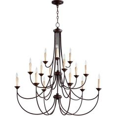 Iron, but with cleaner, simpler lines - Transitional Colonial Chandelier - Large