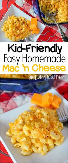 Kid-Friendly Easy Homemade Mac and Cheese Recipe Kid-Friendly Homemade Mac and Cheese – This favorite recipe is easy to make and a tasty alternative to processed boxed mac 'n cheese that even picky kids love. Best Mac N Cheese Recipe, Cheese Recipes, Baby Food Recipes, Easy Dinner Recipes, Easy Meals, Cooking Recipes, Macaroni And Cheese Recipe For Kids, Mac Recipe, Food Baby