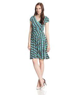 Maggy London Women's Short Sleeve Double Wrap Missy Dress