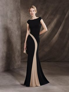 Two-tone cocktail dress with V back and asymmetric design