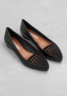 Pointed leather flats   &otherstories