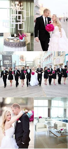 black and pink wedding want!!!!  pink wedding bouquets ... For a Wedding Bouquet Guide ... https://itunes.apple.com/us/app/the-gold-wedding-planner/id498112599?ls=1=8  ... The Gold Wedding Planner iPhone App.