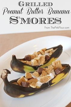 Grilled Peanut Butter Banana S'mores - gooey s'mores made with peanut butter cups from www.thepinkflour.com.jpg