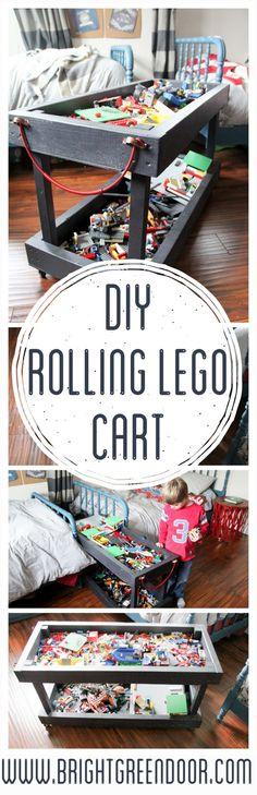 DIY Rolling Lego Cart, Lego Storage, Lego Table on Wheels, Rolling Lego Table www.BrightGreenDoor.com