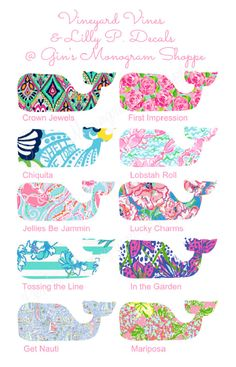 Vineyard Vines meets Lilly Pulitzer whale by GinsMonogramShoppe, $6.99