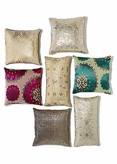 metallic printed pillows