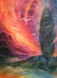 Tutto il cielo cammina come un fiume.... (Poesia di Diego Valeri)  - acquarello di Irma Stropeni