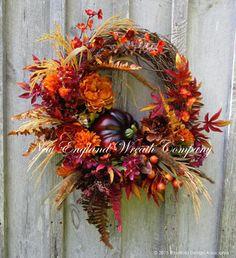 Fall Wreath, Autumn Wreaths, Thanksgiving, Harvest Wreath, Fall Woodland, Pumpkin Wreath, Elegant Fall, Designer, Fall Floral