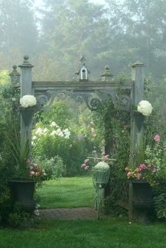 "This reminds me of the entrance to ""The Secret Garden"". Beautiful lush flowers and greenery. Dream Garden, Garden Art, Garden Design, Home And Garden, Veg Garden, Gazebos, Arbors, The Secret Garden, Secret Gardens"
