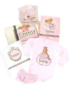 Beautiful baby gift set:- A magical personalized pink set for the new Princess.    This lovely Birth gift contains:  * A soft and useful baby blanket  * Pair of little socks.  * Cute bodysuit - short or long - 100% cotton (choose your color : Pink or Cream )  * 2 top quality cotton muslin diapers.  * Soft royal hat    Each item is designed and printed with the baby's name in English or any other language.  Price: $109