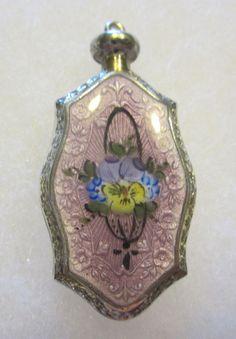 Antique Sterling Silver Guilloche Enamel Perfume Scent Bottle Pendant