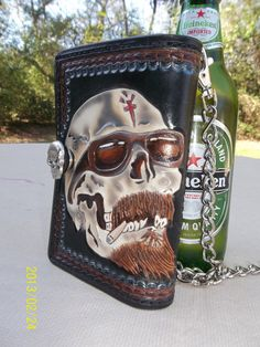 Anarchy Hand Tooled Leather Biker Wallet via Etsy