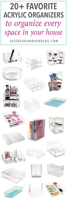 Home Organization- Acrylic Organizers to Organize Every Area of Your Home, clear plastic drawer inserts, makeup organization, pantry organization, refrigerator organization, desk organization, organized office, kitchen organization, drawer dividers, water bottle organization, office supplies, utensil holder, declutter, decluttering