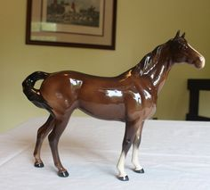 VTG Beswick Porcelain Brown Horse Figurine Swish Tail #1182 Arthur Gredington