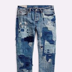 d365c694c5a8 Details about Polo Ralph Lauren Men Indigo-Dyed Repaired Patchwork Distress  Artist Slim Jeans