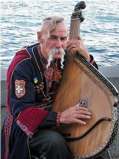 Traditional Ukrainian stringed musical instrument. Bandura.