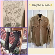 ✨✨Brown button down shirt✨ This shirt is so casual but it's always in style,....!✨Pair with jeans, leggings or anything...!✨96% cotton, 4% spandex....✨Size says S but could easily fit up to a size 8!✨Safari/tan color.....Signature Polo Sport logo is in the left arm...✨Never worn,.... Ralph Lauren Tops Button Down Shirts