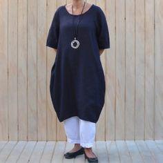 09f730ef1ca Lagenlook Tunic Dress Plain Linen – Navy Blue  linendress   lagenlookclothing  lagenlook  plussizedress