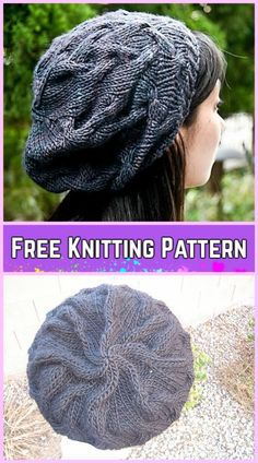 81576a67a1e71 Knit Star Crossed Cable Slouchy Beret Hat Free Knitting Pattern