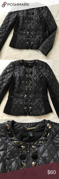 WHBM Quilted Jacket Size XS Chic WHBM quilted black jacket with stretch side and arm details in XS.  Black and pewter jewels adorn the zipper and collar.  Perfect for fall!  Worn only once and in excellent condition. White House Black Market Jackets & Coats