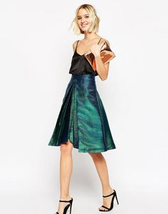 Image 1 of ASOS Prom Skirt in Metallic with Origami Hem