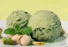 Dairy-free Avocado Ice Cream - (Almond milk, agave nectar, almond extract, and pistachio nuts)