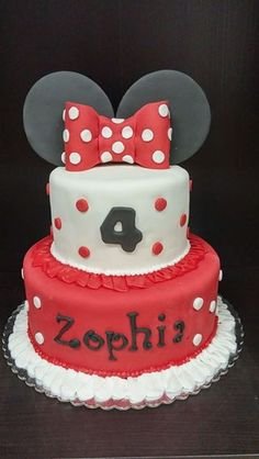 Minnie Mouse Cake Red with Ears & Bow