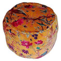 Modelli Creations // Tan Velvet Tropical Bird Print Pouf