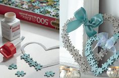 Jigsaw heart craft - how to recycle old puzzles into something gorgeous. Try painting the back of the pieces, or use the back as is, or use the picture side. Depends on your colour choices.