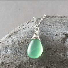 Sterling silver necklace gemstone jewelry by SylviaArtGallery, $48.00