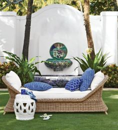 I'm really loving the gorgeous new Aerin Collection by Williams Sonoma Home. Have you seen it? I just got the catalog this week and am so tempted to order a few of the beautiful blue outdoor pillows.